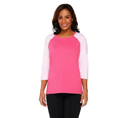 Denim & Co. Active Perfect Jersey 3/4 Sleeve Color-Block Top