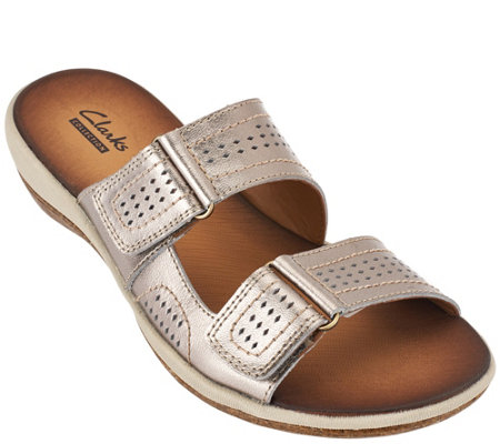 Clarks Double Strap Leather Sandals - Taline Pop