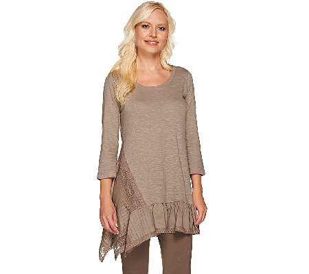 LOGO by Lori Goldstein Slub Knit Top with Asymmetric Lace Detail Hem