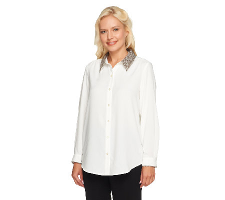"""As Is"" Susan Graver Woven Button Front Top w/ Jacquard Point Collar"