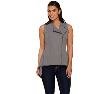 Lisa Rinna Collection Shark-Bite Hem Zip Front Vest - A266688