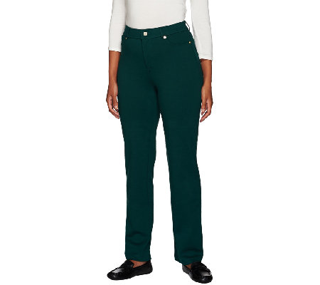 Isaac Mizrahi Live! Regular Fly Front Ponte Pants