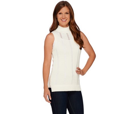 Whitney Port Pointelle Stitch Mock Neck Sleeveless Sweater