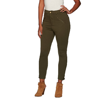 Lisa Rinna Collection Ponte Knit Ankle Pants with Zip Detail