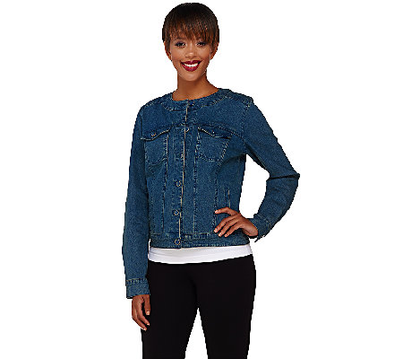 Denim & Co. Round Neck Cropped Jean Jacket