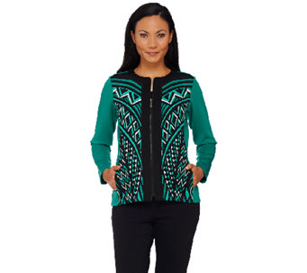 Bob Mackie's Printed Zip Front Scuba Knit Jacket - A268388