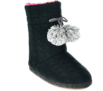 Cuddl Duds Cable Knit Fleece Lined Boot Slippers w/ Foam Insole - A268588