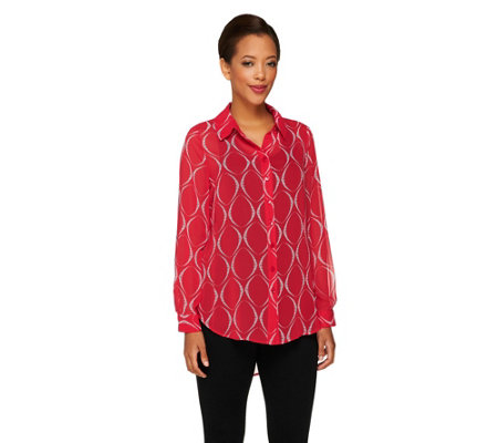 """As Is"" Susan Graver Printed Sheer Chiffon Long Sleeve Shirt"