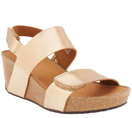"""As Is"" Clarks Leather Wedge Backstrap Sandals - Auriel Fin"