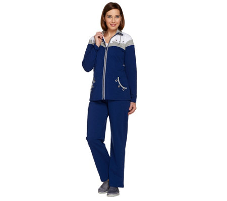 Quacker Factory Colorblocked Grommet Jacket and Pant Set