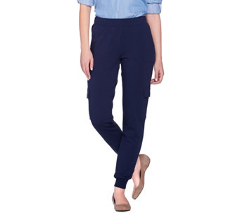 Denim & Co. Active French Terry Cargo Pants with Rib Cuffs - A274388