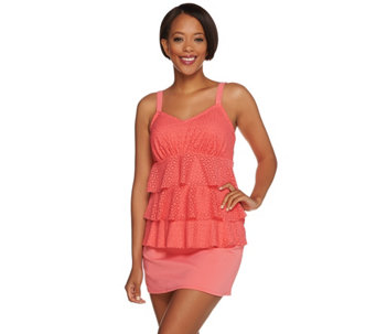 Denim & Co. Beach Eyelet Tiered Tankini Swimsuit - A275488