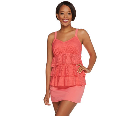 Denim & Co. Beach Eyelet Tiered Tankini Swimsuit