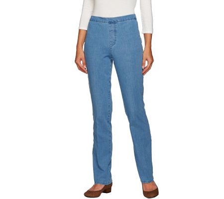 """As Is"" Isaac MizrahiLive! Regular 24/7 Denim Straight Leg Pants"