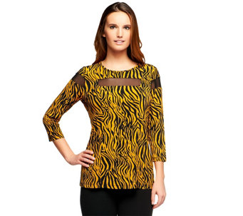 """As Is"" George Simonton Zebra Print Milky Knit Top with Sheer Illusion - A279188"