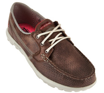 Skechers On-the-GO Embossed Lace-up Boat Shoes - Tide - A279388