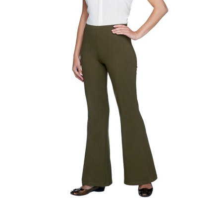 """As Is"" Women with Control Petite Flare Leg Pants w/ Flat Waistband"
