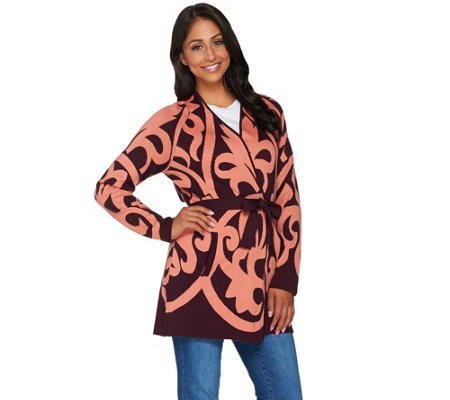 Isaac Mizrahi Live! Adobe Scroll Jacquard Sweater Coat