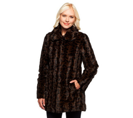"""As Is"" Dennis Basso Wavy Leopard Print Faux Fur Jacket"
