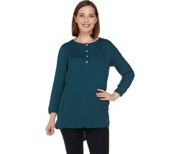 LOGO by Lori Goldstein Henley Top with Shirttail Hem - A281088