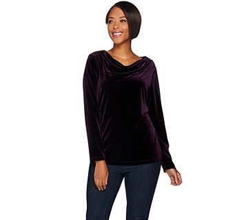 Susan Graver Stretch Velvet Drape Neck Top - A282088