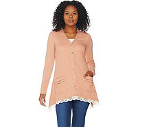 LOGO by Lori Goldstein Waffle Knit Cardigan with Lace - A282788