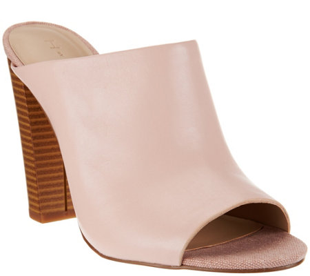 """As Is"" H by Halston Open- Toe Leather Mules with Stacked Heel"