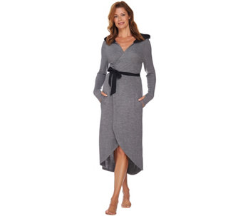AnyBody Loungewear Brushed Hacci Long Cocoon Cardi Robe - A283788