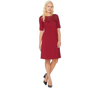 C. Wonder Ponte Knit Dress with Jeweled Neckline - A284188