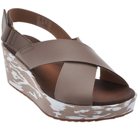 """As Is"" Clarks Leather Cross Band Wedge Sandals - Stasha Hale"