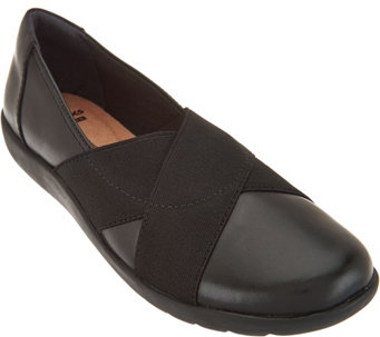 Clarks Leather Slip-on Shoes with Goring - Medora Jem - A285388