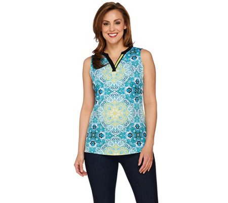 """As Is"" Susan Graver Printed Liquid Knit Sleeveless Split Neck Top"