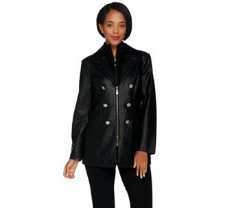 Dennis Basso Faux Leather Jacket with Removable Knit Collar - A288088