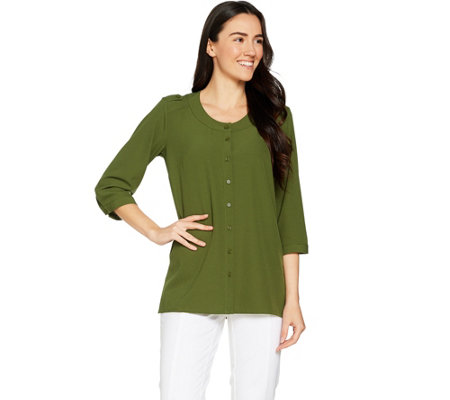 Linea by Louis Dell'Olio Faux de Chine 3/4 Sleeve Blouse