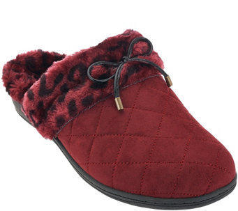 """As Is"" Vionic Orthotic Quilted Slippers w/Bow Detail-Pleasant - A290088"