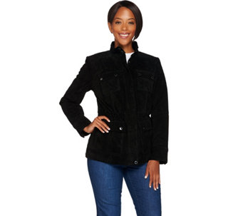 """As Is"" Isaac Mizrahi Live! Suede Zip Front Utility Jacket - A291188"