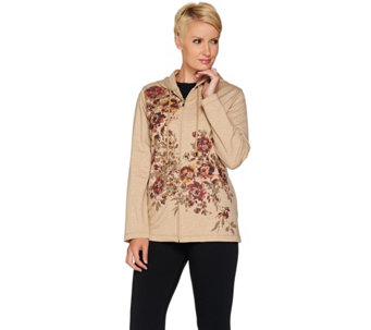 """As Is"" Susan Graver Weekend French Terry Embellished Print Jacket - A291688"
