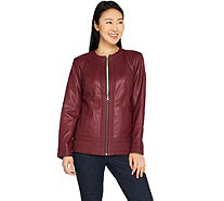 Studio by Denim & Co. Faux Leather Jacket w/ Embroidery Trim - A297788