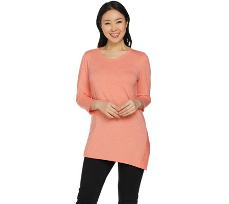"""As Is"" H by Halston Pullover Knit Top with Asymmetric Hem"