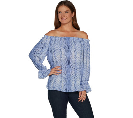 Laurie Felt Woven Off the Shoulder Blouse