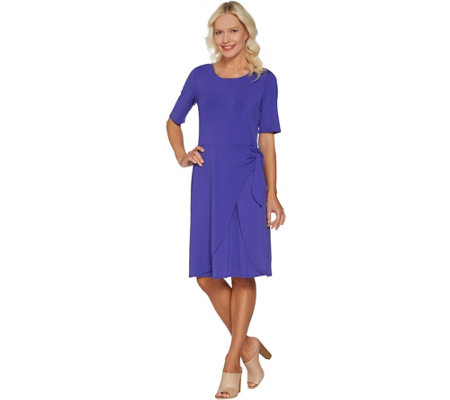 H by Halston Petite Jet Set Jersey Dress with Faux Sarong Tie