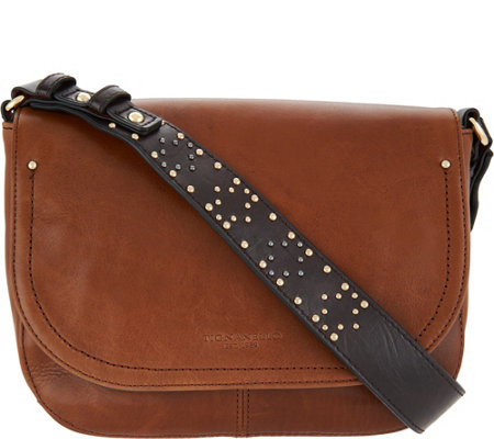 """As Is"" Tignanello Vintage Leather Embellished Strap Crossbody"