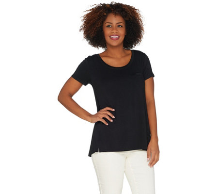 """As Is"" H by Halston Essentials Tee with Pocket Detail"