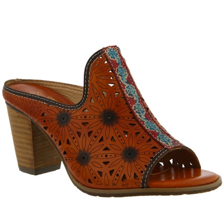 L'Artiste by Spring Step Leather Mule Sandals -Habune