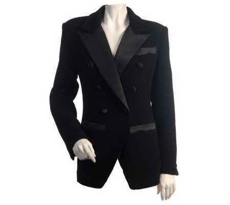 Linea by Louis Dell'Olio Boucle Tuxedo Jacket w/ Satin Trim