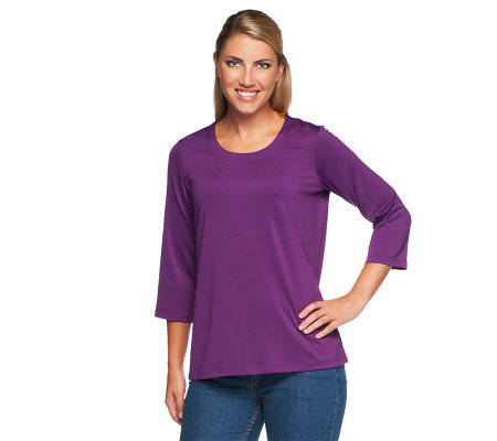 Susan Graver Essentials Butterknit 3/4 Sleeve Scoop Neck Top