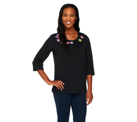 Quacker Factory 3/4 Sleeve Pretty Pansies T-shirt