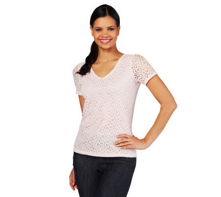 Liz Claiborne New York Eyelet Lace T-Shirt with Lining