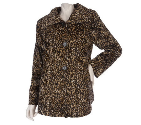 Dennis Basso Animal Printed Faux Fur Coat with Spread Collar