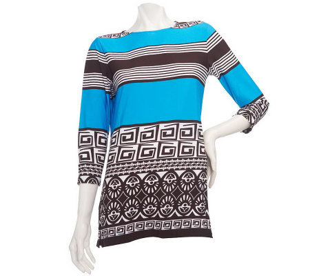 Susan Graver Liquid Knit Striped Border Print Tunic